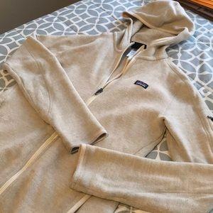 Cream Patagonia hoodie zip up
